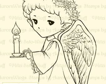 Candle Angel Sprite - Aurora Wings Digital Stamp - Christmas Holiday Angel Image - Fantasy Line Art for Arts and Crafts by Mitzi Sato-Wiuff