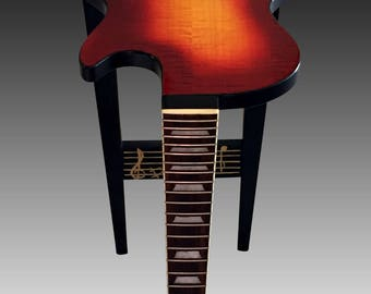 Gibson Les Paul Guitar End Table - Fiddleback Maple Sun Burst