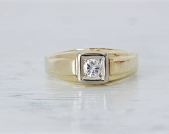 Mens Vintage Diamond Ring | Simple Geometric Ring | 14k Yellow Gold Wedding Ring | Mixed Metal Jewelry | Promise Ring | Size 11 Sizable