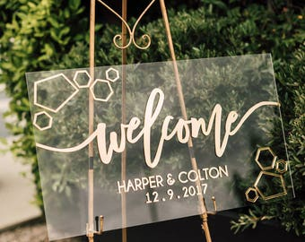 "30"" Custom Welcome Sign - Laser Cut Acrylic Personalized Welcome Wedding Sign, Custom Welcome Event Signage, Floating Backdrop Sign"