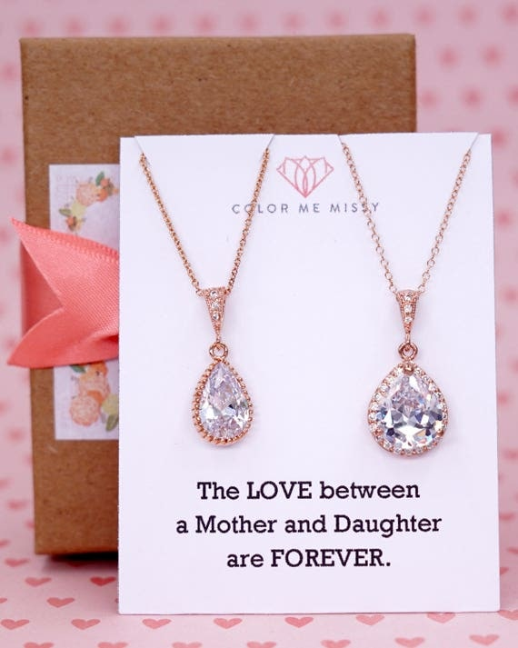 Rose Gold Luxe Cubic Zirconia Teardrop Necklace - weddings brides bridesmaid bridal shower gifts, mother of groom bride - N42 N62