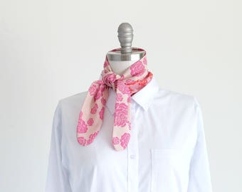 Silky soft pink bandana, rose scarf, bright pink and red print mix, floral neckerchief, summer outdoors accessory, resort travel statement