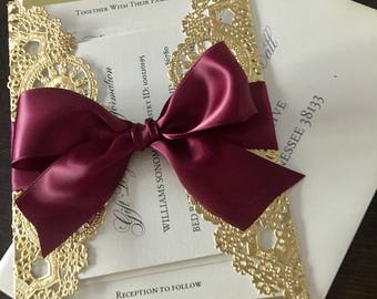 DEPOSIT - Metallic Doilies Wedding Invitation Suite with Ribbon Bow
