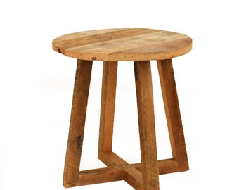 round side table reclaimed wood bedside table beside couch table