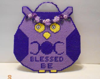Blessed Be Owl, Purple, Owl, Wiccan, wall hanging