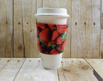 Fabric Coffee Cozy / Strawberries Coffee Cozy / Food Coffee Cozy / Coffee Cozy / Tea Cozy