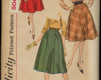 Uncut 1960s Waist 34 Hip 44 Set Of Gored Skirts Simplicity 3709 Vintage Sewing Pattern 60s Flared 10 4 Gores Plus Size