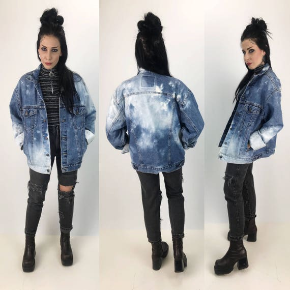 90's Levis Denim Jacket Acid Wash Bleach Tie Dye Vintage Unisex Jacket Medium - Slouchy Levis Jacket Classic Outerwear Grunge LEVIS 1990s