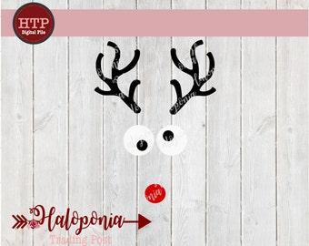 Christmas Reindeer Rudolph Face SVG File