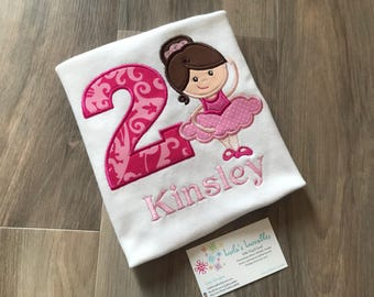 Ballerina birthday shirt, choose your colours