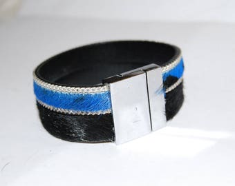 cuff leather hair chain Silver-Blue Leopard and black