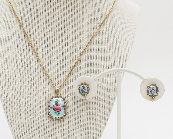 30s Blue Guilloche Rose Necklace Set - Vintage 1930s Hand Painted Floral Necklace Earrings and Brooch