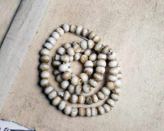 Small Bone Beads -  90 Rustic Round Bone Beads - 4mm Natural Cream Brown -  Round Bone Spacer Beads - Organic Neutral Earthy Contrast Brown