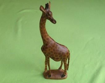 Vintage Hand Carved Wooden Giraffe Figurine, African, Africa, Sculpture