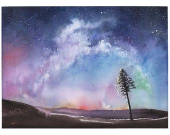 SPACE ART PRINT - watercolor landscape, night sky art, aurora borealis, watercolor universe, watercolor tree, starry night, nebula painting