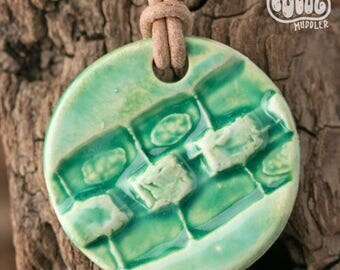 Algae pendant necklace, conjugating Spirogyra ceramic science jewellery