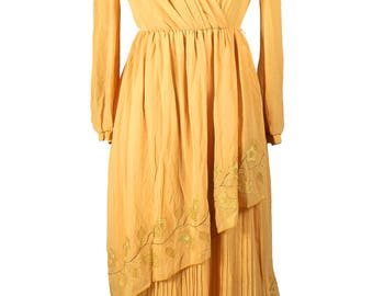 Vintage 1970's Japanese Sweet Ingenue Dress / Buttercup Yellow Georgette / Floral Applique /Layers / Fortuny Pleats / Feminine Goldenrod