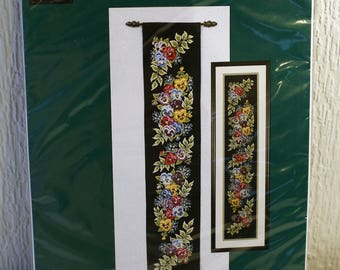 Vintage Counted Cross Stitch Kit Pansy Bell Pull. The Craft Collection