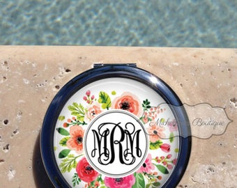 Floral Monogram compact mirror,Personalized Compact Mirror,Custom Compact Mirror,Bridesmaid Gift,Wedding party gift,Gift for her,MB397