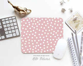 Mousepad Blush Dotted Mousepad Coral Polka Dots Mouse Mat Polka Mouse Pad Office Mousemat Rectangular Mousemat Polka Mousepad Round 120.