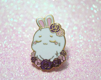 "Rose Bunny 1"" Hard Enamel Pin - Kawaii Rabbit Lolita Pastel lapel pin"