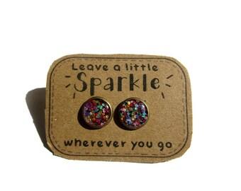 RAINBOW GLITTER - Glitter earrings - glitter stud earrings - colorful glitter - druzy - sparkly jewelry - resin - glitter jewelry - sparkle