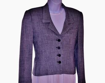 Vintage 70s-'80's Evan Picone Petites Navy & White Tiny Weave Menswear Blazer XS/Nubby Wool