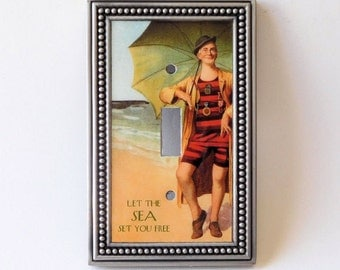 Vintage Beach Bather Switch Plate Cover, Sea Quote Light Switch, Let the Sea Set You Free, Beach Switch Plate, Vintage Beach Art Switchplate