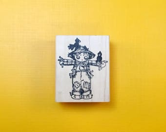 SCARECROW Kid Wood Mount Rubber Stamp by PEDDLER'S PACK Stampworks 1995-96 Halloween