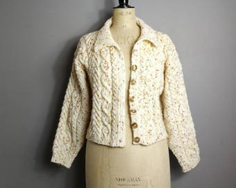 Vintage hand knitted cable cardigan / petite vintage cable cream cardigan / boho flecked hand knit cardigan / fishermans cardigan / small