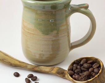 Hand Thrown Mug, Pottery Mug, Green Pottery Mug, Handmade Stoneware Mug, 16 Oz Pottery Mug, Stoneware Mug, Handmade Mug, Wheel Thrown Mug