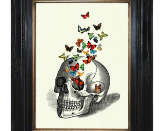 Butterflies human Skull Art Print Anatomy Gothic Art Print Halloween Victorian Steampunk morbid Poster