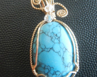 Turquoise Pendant with Swarvoski Crystals