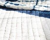 Shibori quilt - Indian bedspread - Queen quilt - indigo and white quilt  - lightweight blanket - cotton blanket  - Japanese tie and dye
