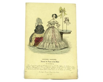 Fashion Plate from Costumes Parisiens. 1838 Antique Fashion Illustration. French Engraving.  Ready To Frame Art. Fashionista Gift.