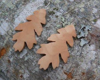 Oak leaf earrings, Silver leaf earrings, leaf earrings, Earthy earrings, Natural wood jewelry, Sterling silver earrings, Nature lover gift