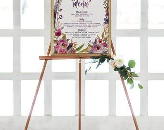 Floral Wedding Menu Sign - Purple Wreath Boho Wedding Reception Menu Poster - Printable or Printed - Fall Wedding Menu