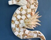 Shelled seahorse wall art_beach home decor_seahorses_mothers day gift