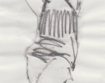 Original Graphite Drawing - Swimwear - Sportswear - Female Figure Drawing - Modern Artwork - Minimal Art - Giftgiving - Black and White ART