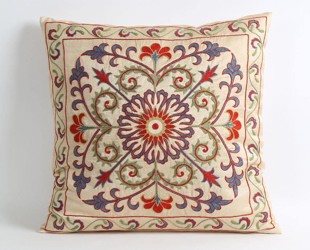 Suzani Pillow Cover 18x18 Floral Decorative Pillows For Couch