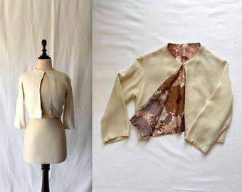 1950s woven jacket with floral lining
