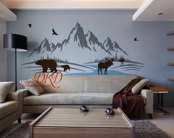Mountain Decal, Mountain Wall Art, Nursery Decor, Woodland Baby Room  Jungle, Moose Part 34