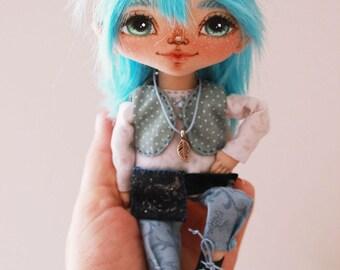 Textile doll, art doll, handmade doll, fabric doll, home decoration, doll boy Blue Elf