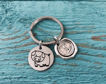 Paisley the pig, Pig, Silver Keychain, Silver Keyring, Pig Jewelry, Pig Gift, Pig Keychain, Pig Charm, Piggy, Pig Farmer. Silver Pig, Swine