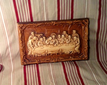 The Last Supper Ceramic Plaque or Picture - Faux Wood, Ornate Floral Trim - Christian, Religious Decor or Gift - Multi Products Inc