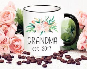 Grandma Mug Gift with Flowers, Grandma Established 2017