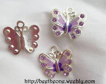 Enamel Butterfly Charm silver and lilac - strass lilac - 21 mm - hole 2 mm
