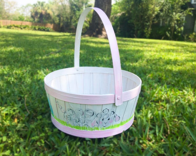 Classic Children's Hand Painted Easter Basket - White
