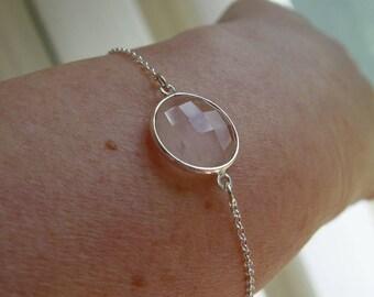 """Sterling silver chain Bracelet with 16mm Rose Quartz bezel set gemstone 6"""" - 8"""""""