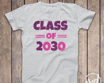 Graduating Class of 2030 Shirt Girl, Kindergarten Class of 2030 Girl, Personalized 2030 Girl Tshirt, School Colors